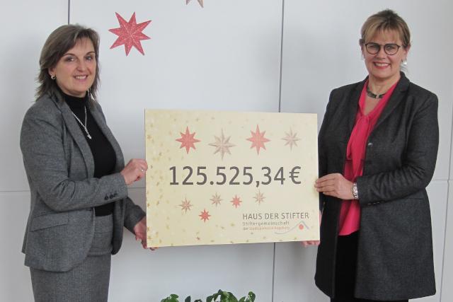 Cornelia Kollmer , Kuratoriumsvorsitzende HAUS DER STIFTER, und Susanne Stippler, Leiterin Generationenmanagement und Stiftungen halten den Erlös der Weihnachtsspendenaktion in den Händen.